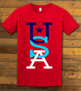 This is the main graphic design on a red shirt for the: USA Vertical