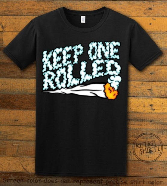This is the main graphic design on a black shirt for the Weed Shirt: Keep One Rolled