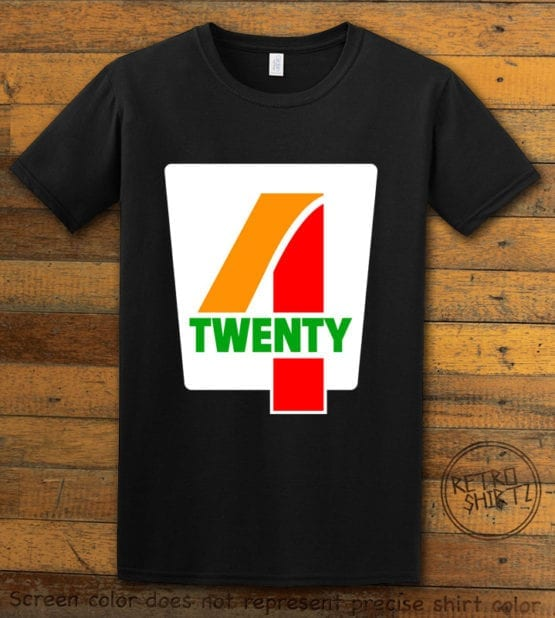 This is the main graphic design on a black shirt for the Weed Shirt: Seven Eleven Four Twenty 7/11 4/20