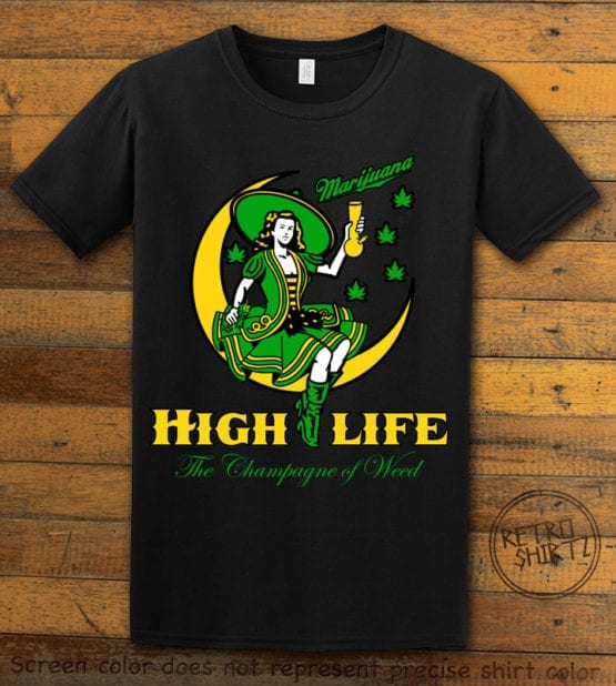 This is the main graphic design on a black shirt for the Weed Shirt: High Life Champagne of Weed