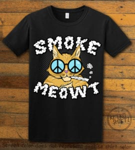This is the main graphic design on a black shirt for the Weed Shirt: Stoned Cat Smoke Meowt