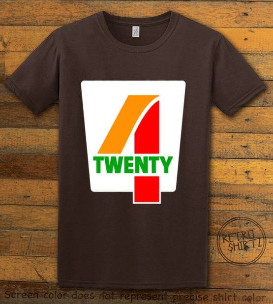 This is the main graphic design on a brown shirt for the Weed Shirt: Seven Eleven Four Twenty 7/11 4/20