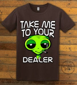 This is the main graphic design on a brown shirt for the Weed Shirt: Stoned Alien Smoking