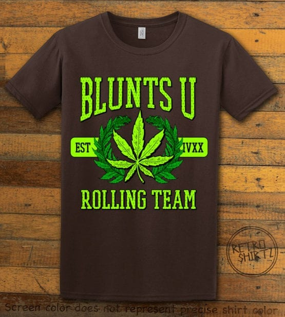 This is the main graphic design on a brown shirt for the Weed Shirt: Blunts University