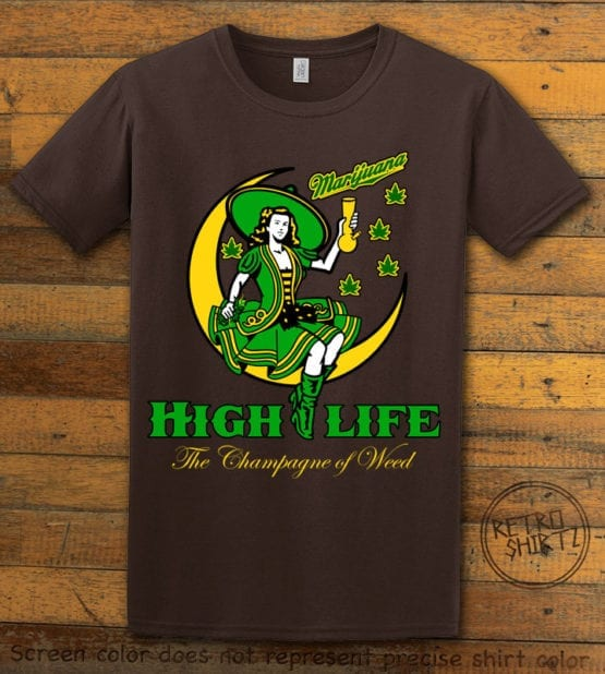 This is the main graphic design on a brown shirt for the Weed Shirt: High Life Champagne of Weed