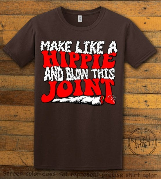 This is the main graphic design on a brown shirt for the Weed Shirt: Hippie Joint