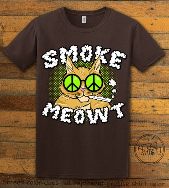 This is the main graphic design on a brown shirt for the Weed Shirt: Stoned Cat Smoke Meowt