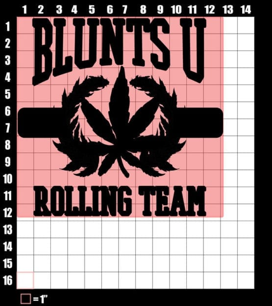 These are the graphic design dimensions for the Weed Shirt: Blunts University