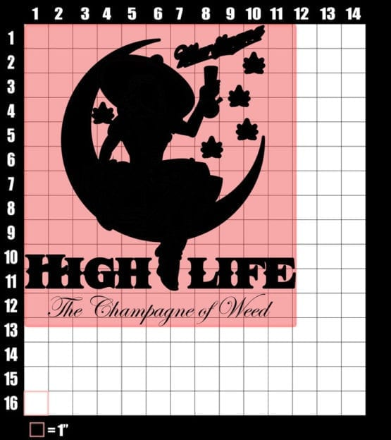 These are the graphic design dimensions for the Weed Shirt: High Life Champagne of Weed