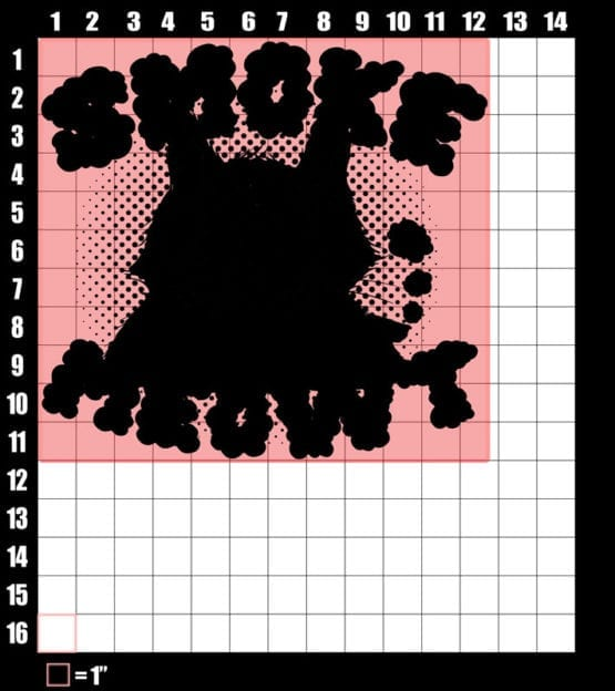 These are the graphic design dimensions for the Weed Shirt: Stoned Cat Smoke Meowt