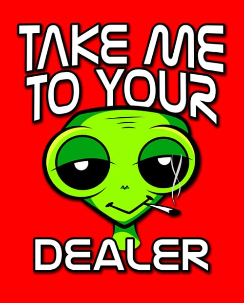 This is the main graphic design for the Weed Shirt: Stoned Alien Smoking
