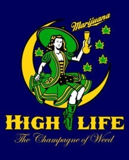 This is the main graphic design for the Weed Shirt: High Life Champagne of Weed