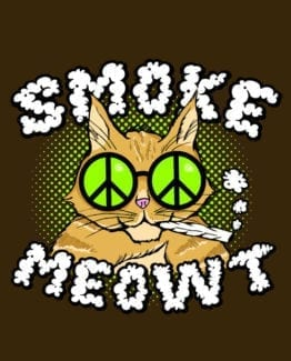 This is the main graphic design for the Weed Shirt: Stoned Cat Smoke Meowt