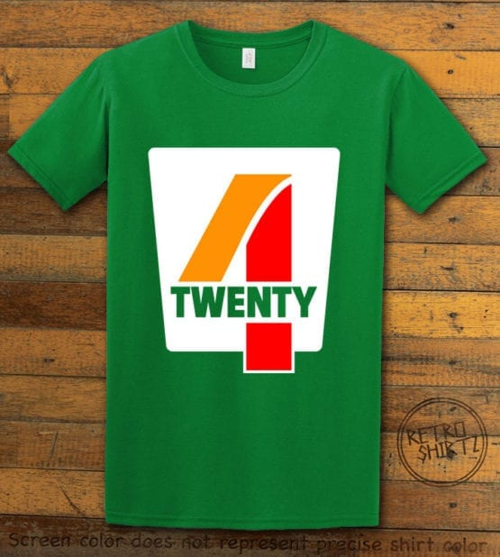 This is the main graphic design on a green shirt for the Weed Shirt: Seven Eleven Four Twenty 7/11 4/20