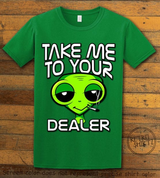 This is the main graphic design on a green shirt for the Weed Shirt: Stoned Alien Smoking