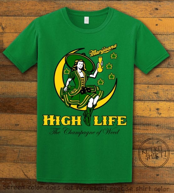 This is the main graphic design on a green shirt for the Weed Shirt: High Life Champagne of Weed