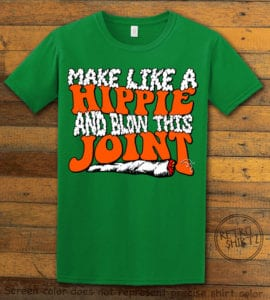 This is the main graphic design on a green shirt for the Weed Shirt: Hippie Joint
