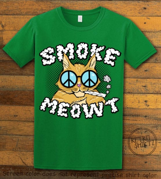 This is the main graphic design on a green shirt for the Weed Shirt: Stoned Cat Smoke Meowt