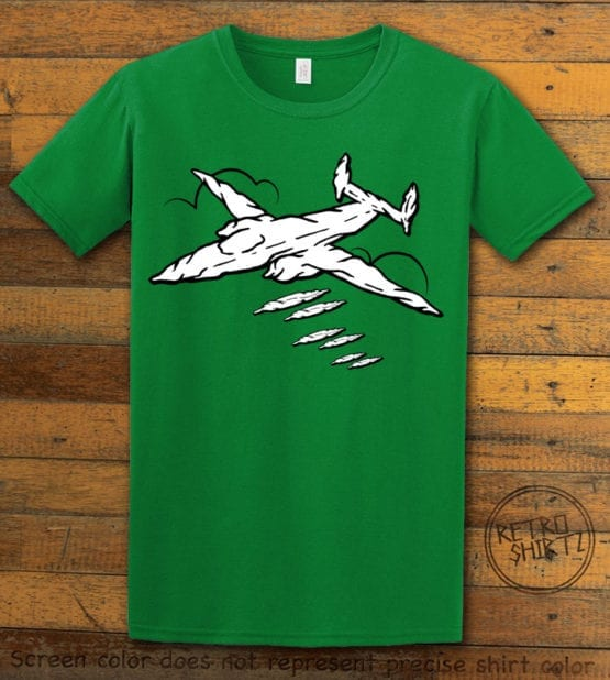 This is the main graphic design on a green shirt for the Weed Shirt: Joint Bomber Plane