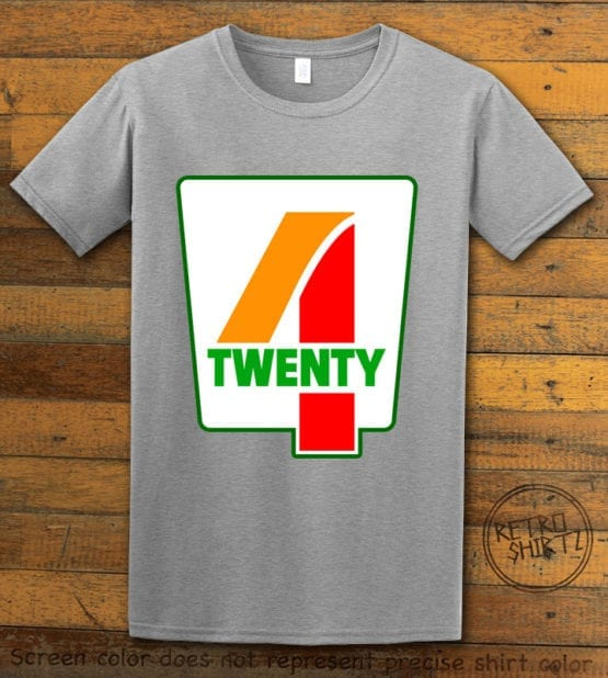 This is the main graphic design on a gray shirt for the Weed Shirt: Seven Eleven Four Twenty 7/11 4/20