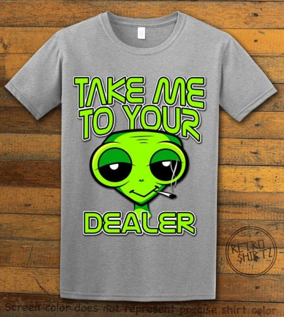 This is the main graphic design on a gray shirt for the Weed Shirt: Stoned Alien Smoking