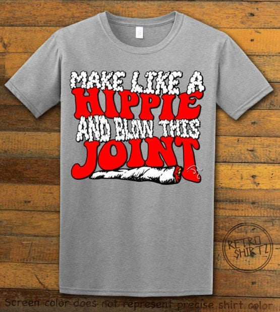 This is the main graphic design on a gray shirt for the Weed Shirt: Hippie Joint