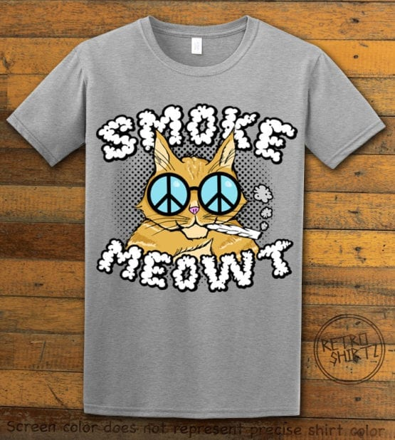 This is the main graphic design on a gray shirt for the Weed Shirt: Stoned Cat Smoke Meowt