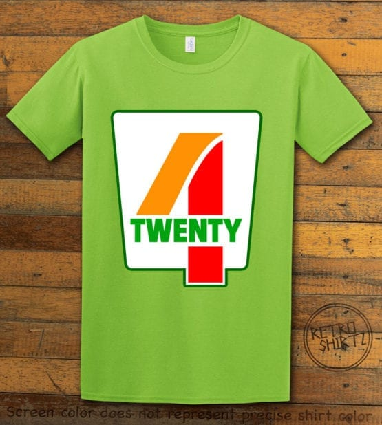 This is the main graphic design on a lime shirt for the Weed Shirt: Seven Eleven Four Twenty 7/11 4/20