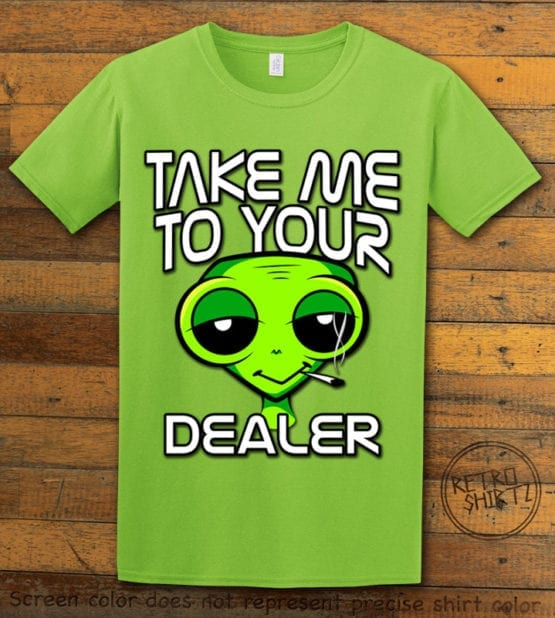 This is the main graphic design on a lime shirt for the Weed Shirt: Stoned Alien Smoking
