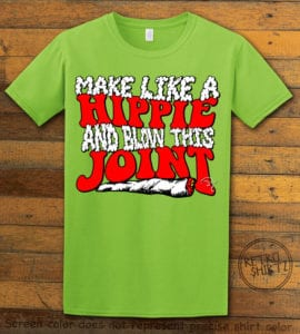 This is the main graphic design on a lime shirt for the Weed Shirt: Hippie Joint