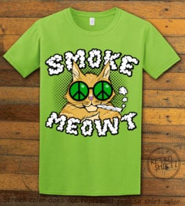 This is the main graphic design on a lime shirt for the Weed Shirt: Stoned Cat Smoke Meowt