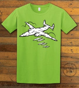 This is the main graphic design on a lime shirt for the Weed Shirt: Joint Bomber Plane