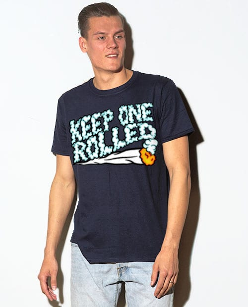 This is the main model photo for the Weed Shirt: Keep One Rolled