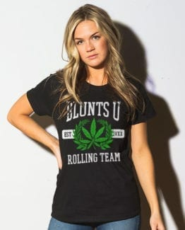 This is the main model photo for the Weed Shirt: Blunts University
