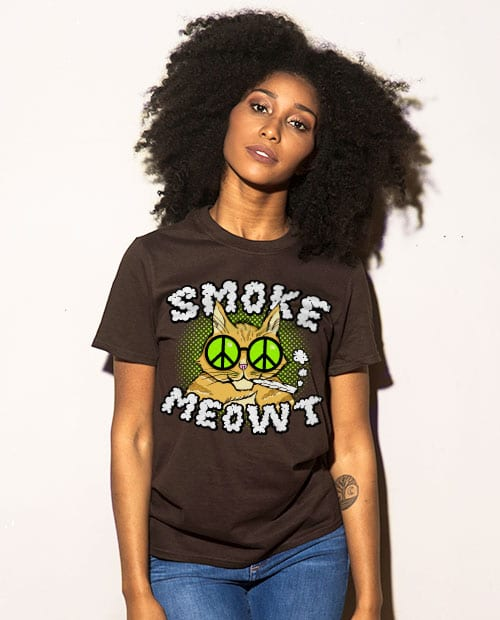 This is the main model photo for the Weed Shirt: Stoned Cat Smoke Meowt