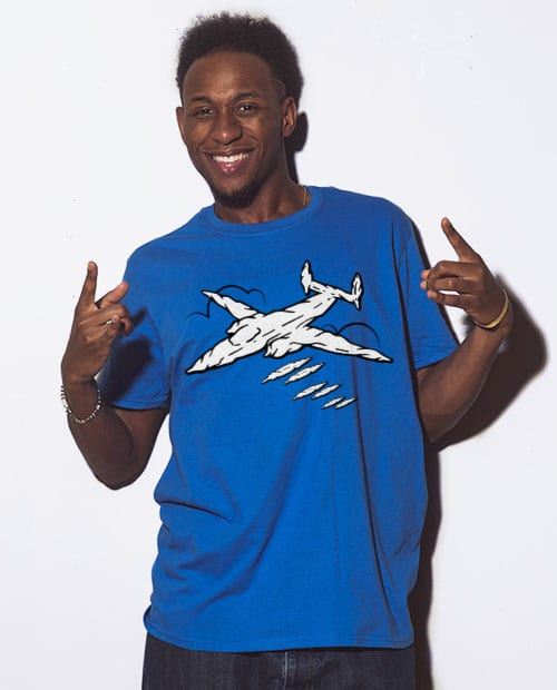 This is the main model photo for the Weed Shirt: Joint Bomber Plane