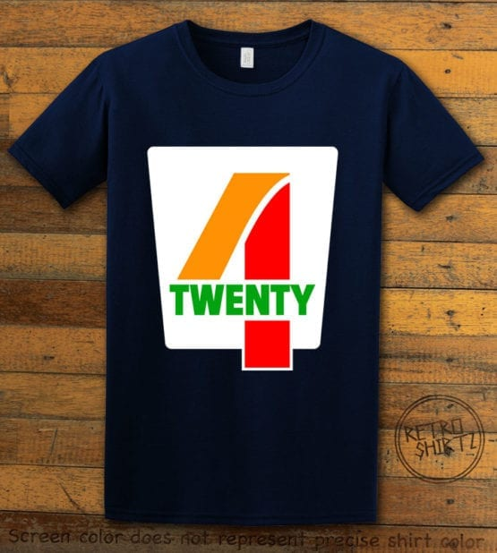 This is the main graphic design on a navy shirt for the Weed Shirt: Seven Eleven Four Twenty 7/11 4/20
