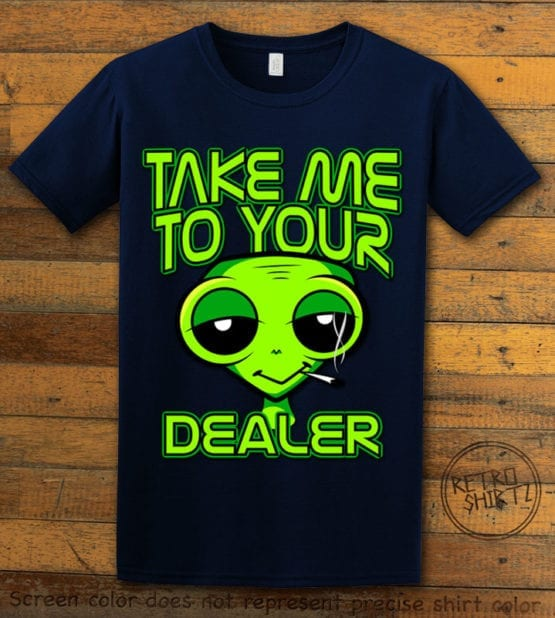 This is the main graphic design on a navy shirt for the Weed Shirt: Stoned Alien Smoking