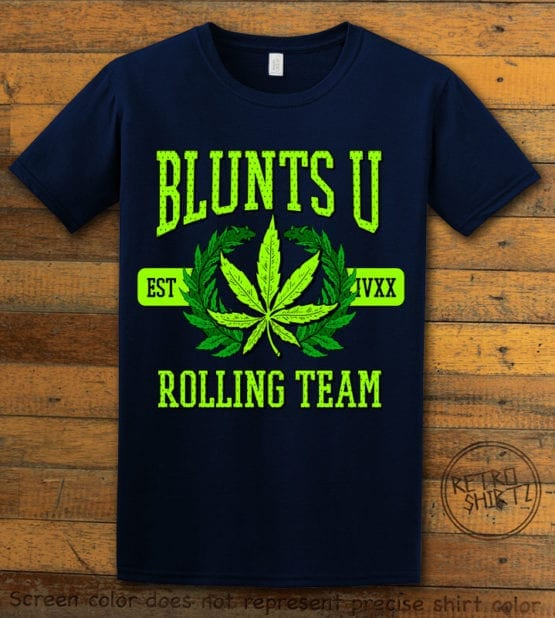 This is the main graphic design on a navy shirt for the Weed Shirt: Blunts University