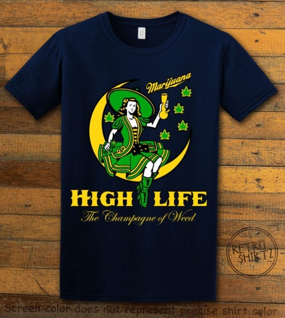 This is the main graphic design on a navy shirt for the Weed Shirt: High Life Champagne of Weed