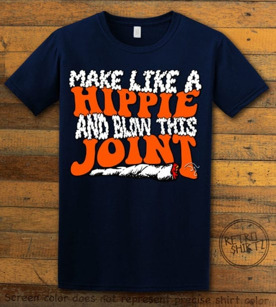 This is the main graphic design on a navy shirt for the Weed Shirt: Hippie Joint