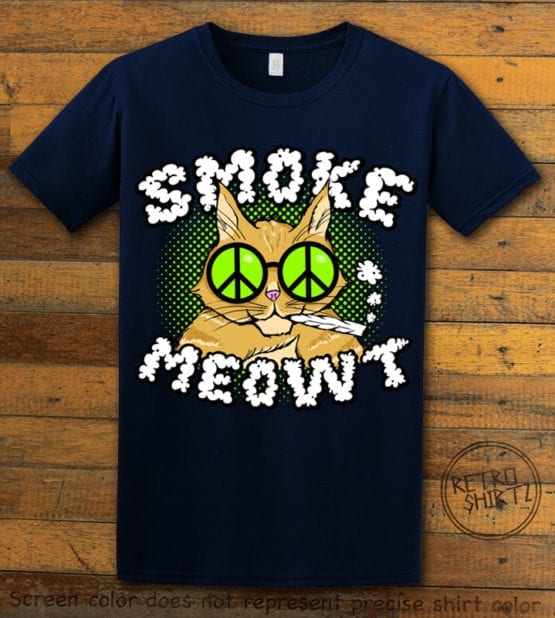 This is the main graphic design on a navy shirt for the Weed Shirt: Stoned Cat Smoke Meowt