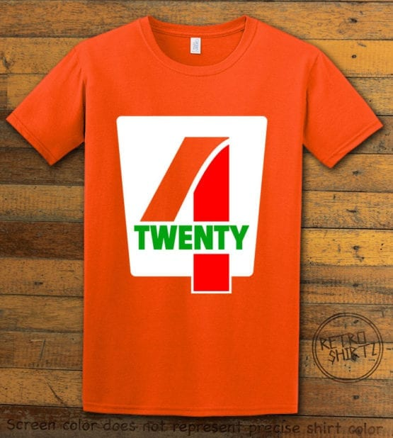 This is the main graphic design on a orange shirt for the Weed Shirt: Seven Eleven Four Twenty 7/11 4/20