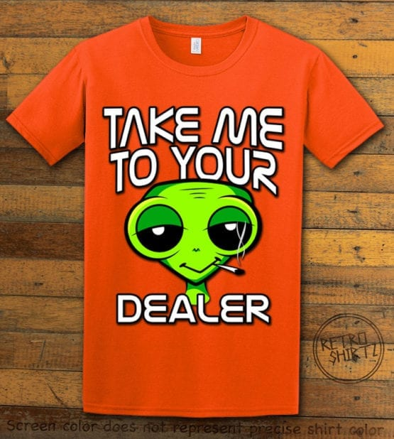 This is the main graphic design on a orange shirt for the Weed Shirt: Stoned Alien Smoking