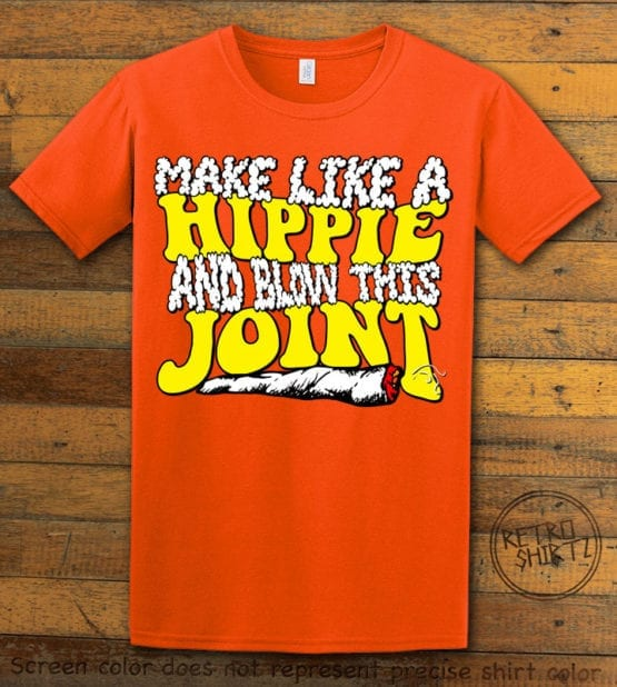This is the main graphic design on a orange shirt for the Weed Shirt: Hippie Joint