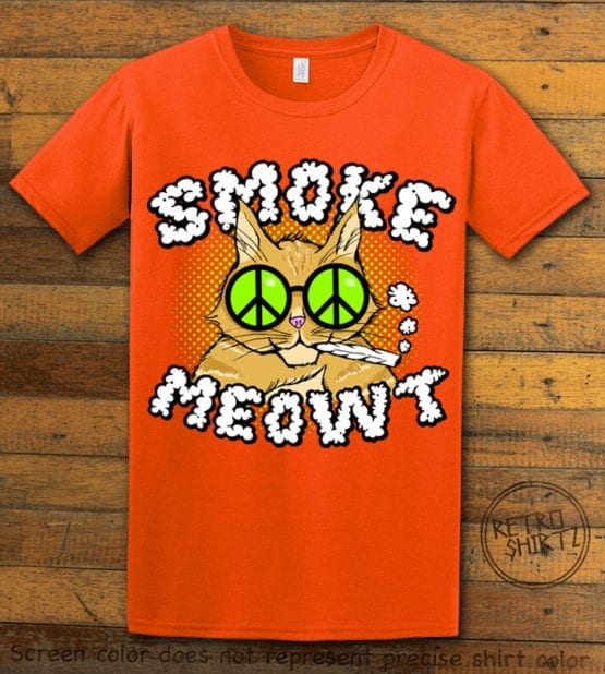 This is the main graphic design on a orange shirt for the Weed Shirt: Stoned Cat Smoke Meowt