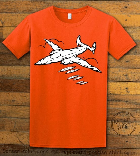 This is the main graphic design on a orange shirt for the Weed Shirt: Joint Bomber Plane