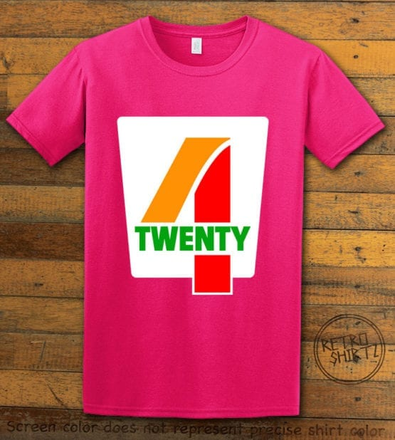 This is the main graphic design on a pink shirt for the Weed Shirt: Seven Eleven Four Twenty 7/11 4/20