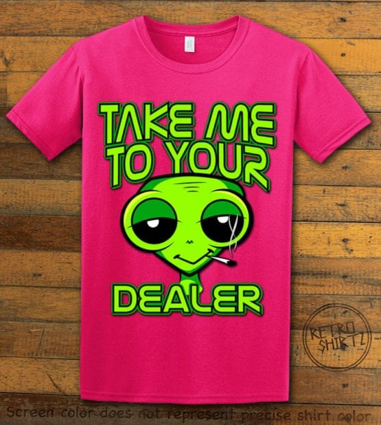This is the main graphic design on a pink shirt for the Weed Shirt: Stoned Alien Smoking