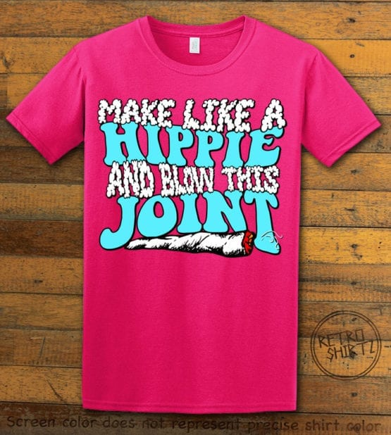 This is the main graphic design on a pink shirt for the Weed Shirt: Hippie Joint